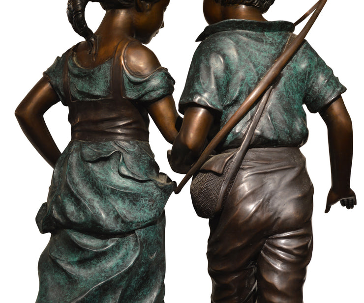Large Adorable Signed Bronze Featuring Two Youths