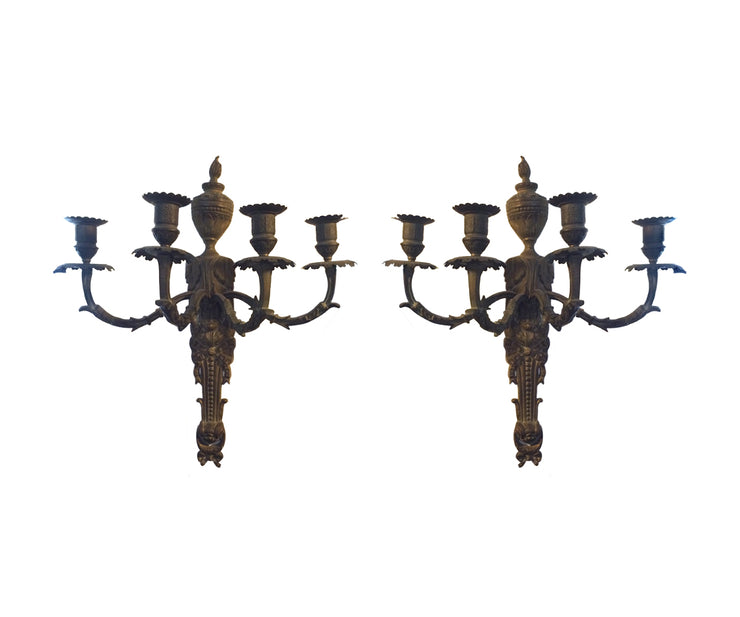 Pair of bronze candled sconces