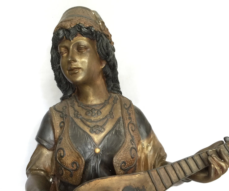 Bronze Female in the Orientalism Style Playing an Instrument