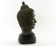 Important Antique Chinese Signed Bronze Head of Buddha with Turquoise