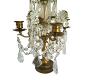 Pair of Old Crystal Candelabra