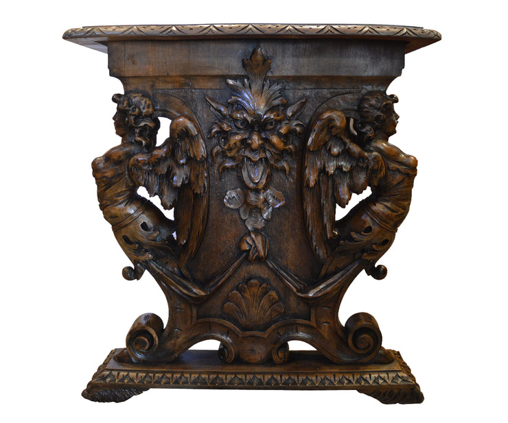 Antique French 19th Century Hand-Carved Walnut Angel Table
