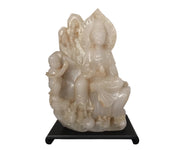 Chinese White Jade Quan Yin Figural Group