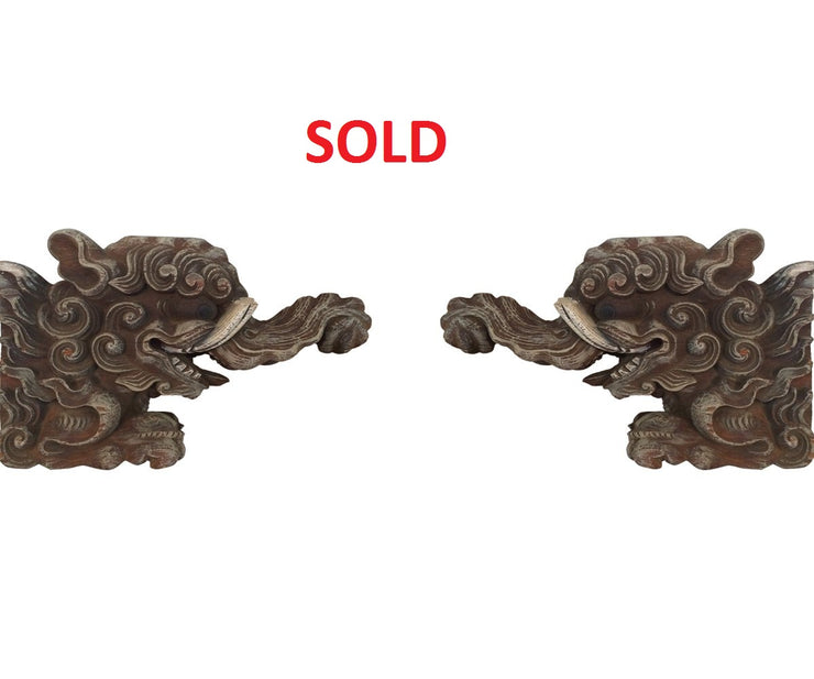 Pair of Chinese carved wood elephant