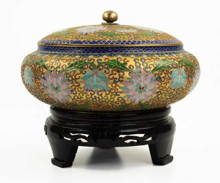 Chinese Cloisonné Bowl with Lid and Stand