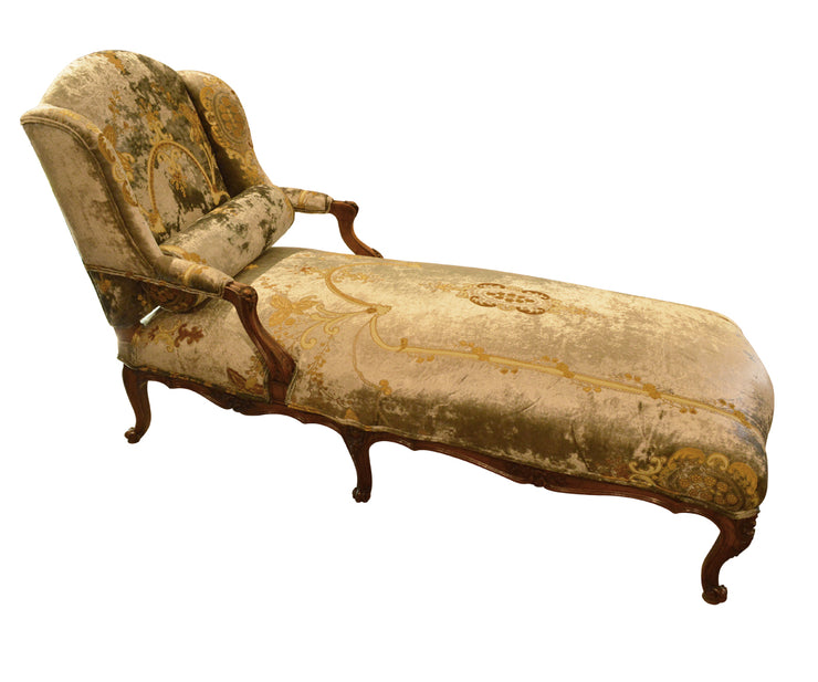 Antique French Walnut Chaise Longue