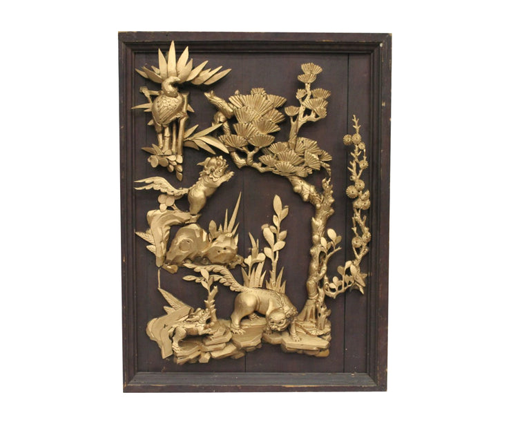 Antique Chinese gilt wood carved panel