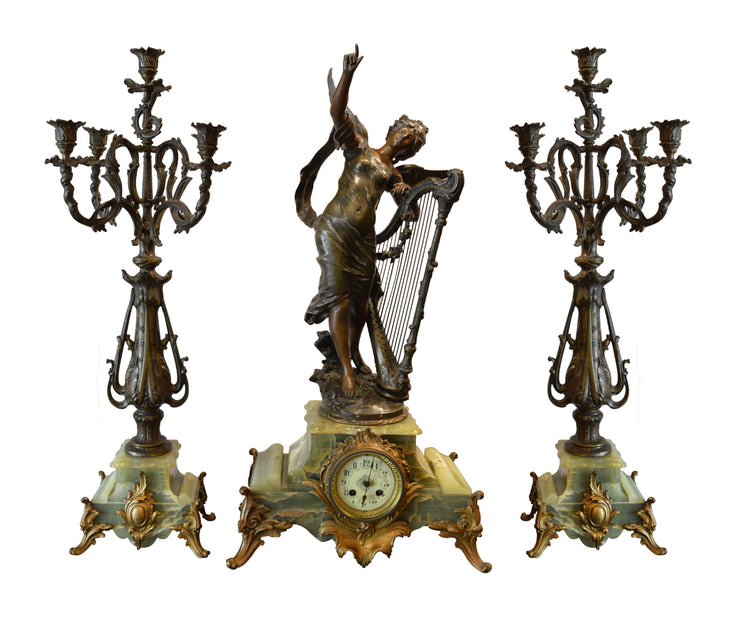 19th Century Signed French Clock Set