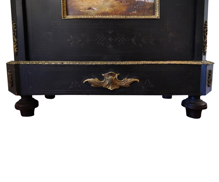 19th Century French Ebonized Cabinet Hand Painted Signed Porcelain Plaque Inset