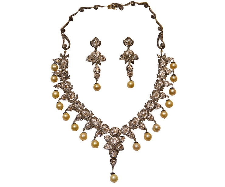 Diamond and pearl necklace and earrings