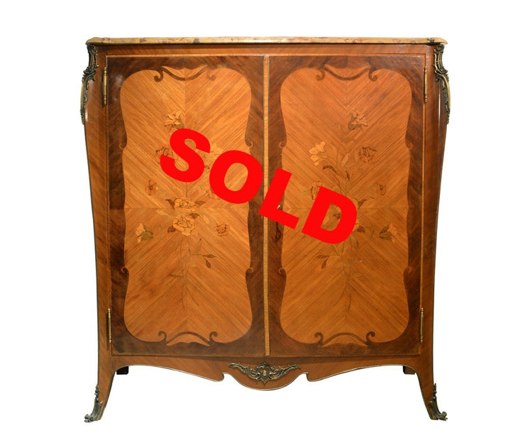French Ormolu-Mounted Parquetry Armoire with Marbletop
