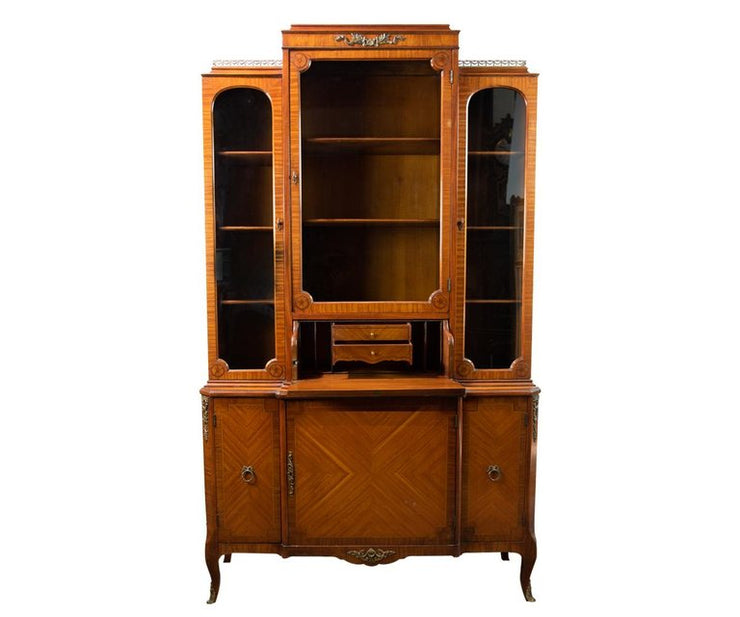 French Style Walnut Secretary with Inlay Decorations
