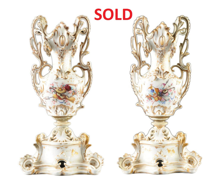 Pair Of french gilt and polychrome vases