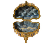 Italian Antique Pietra Dura Inlaid Gilt Bronze Box with Enameling