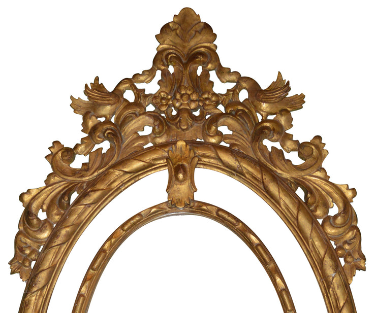 Large Oval Hand-Carved Gilt wood Mirror