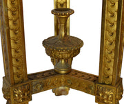 Antique 19th Century Gilt Torchière Pedestal with Lions Faces