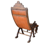 Unusual, Antique, Italian Griffin Lounge Chair with Foot Stool