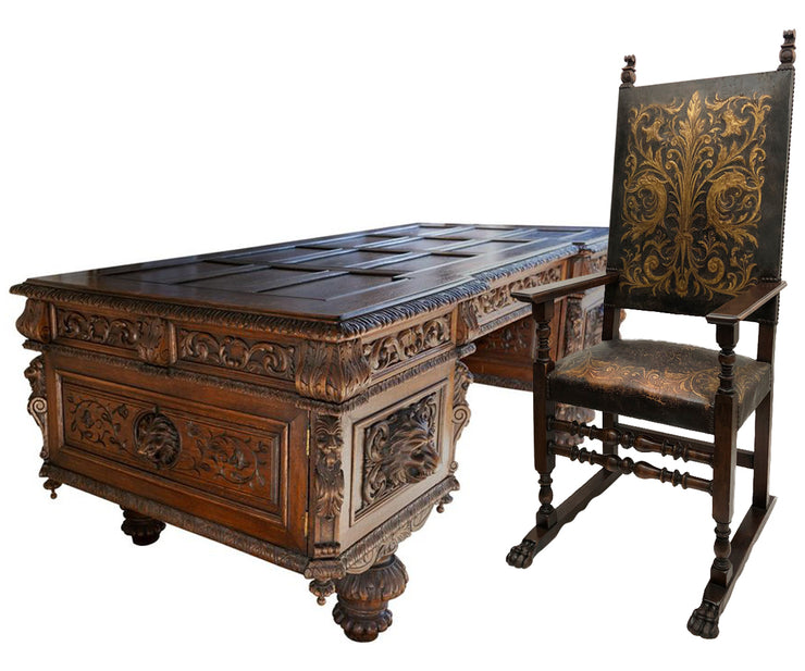 Antique Large Carved Oak Baronial Glass Top Desk and Gilt Embossed Leather Chair