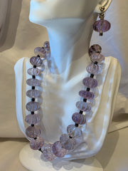 Carved amethyst necklace and matching earrings