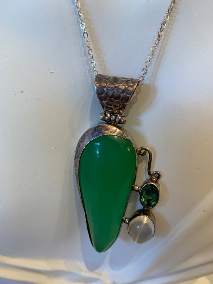 Green jade and moon stone and peridot stone necklace and matching earrings