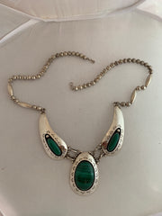 Silver and malachite necklace
