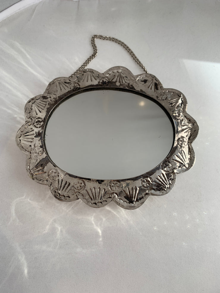 Silver sterling small mirror with chain