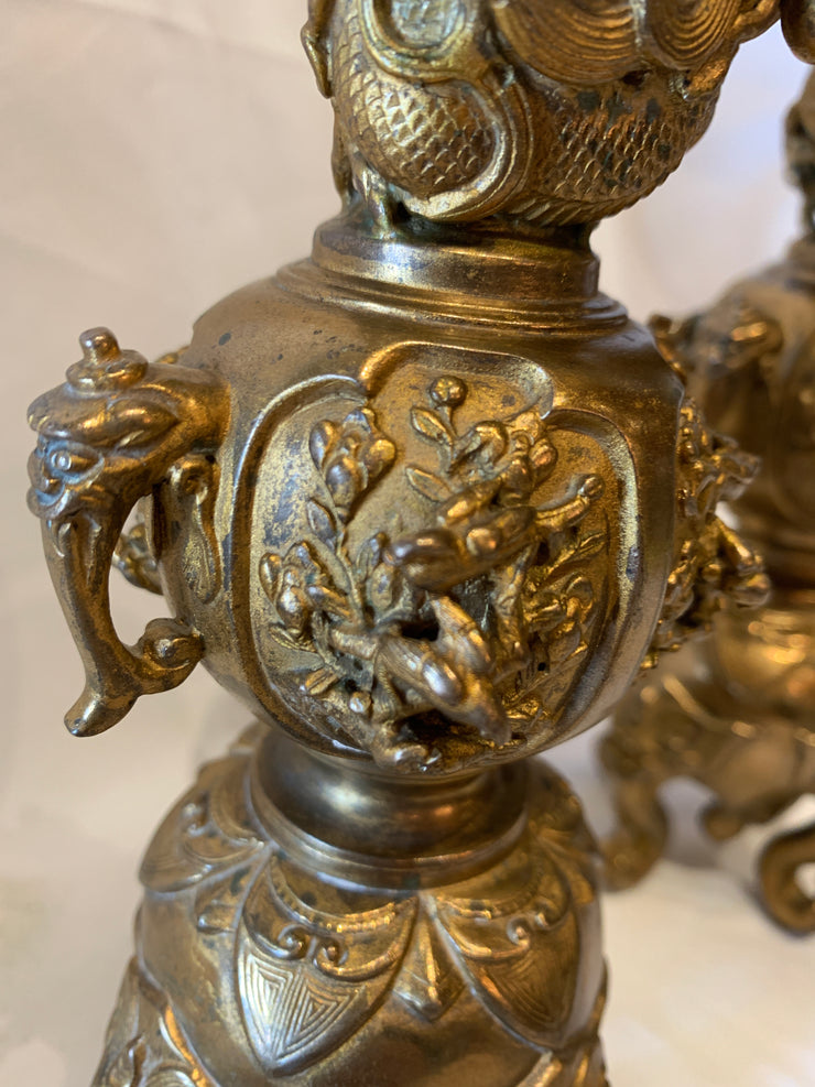 Antique Chinese pair of gilded candelabras
