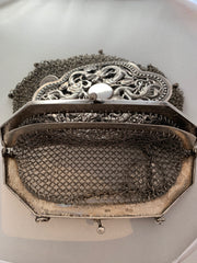 Antique Chinese silver sterling mesh purse