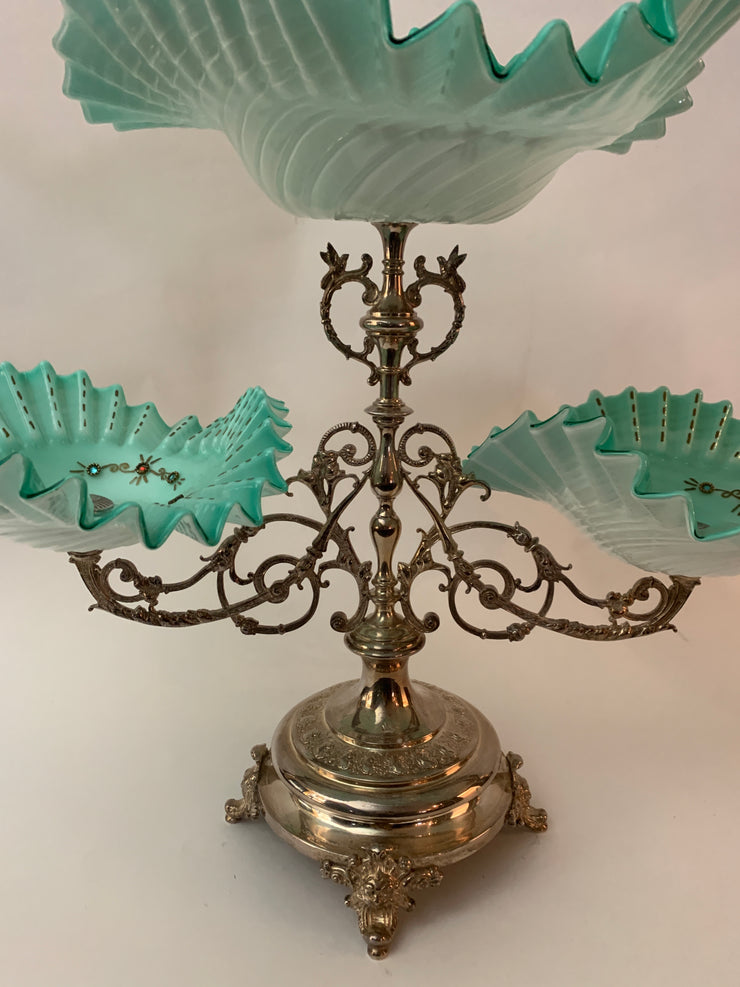 Antique silver plated centerpiece