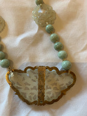 Chinese carved Jadeite and jade beads necklace