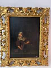 Antique oil painting on board