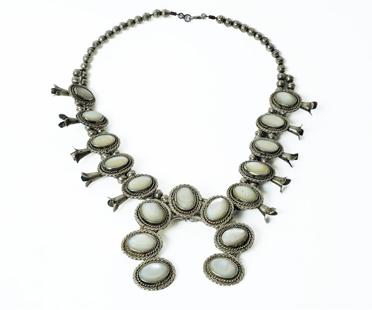 Native American mother of pearl and silver necklace