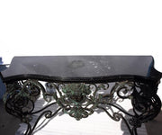 Midcentury Bronze Console Table with Black Marble Top
