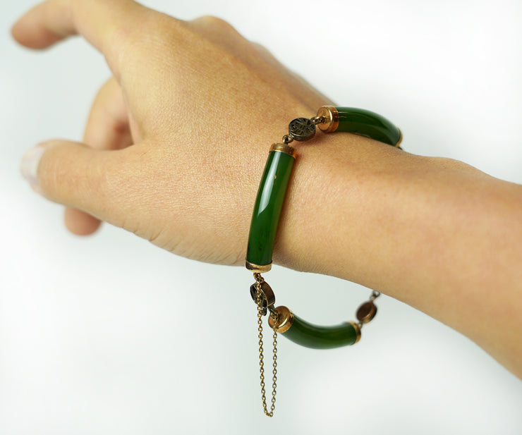 Jade and gold bracelet