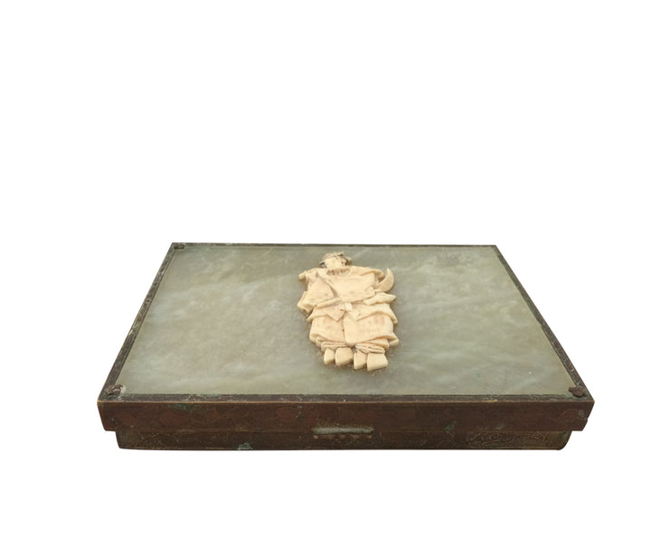 Antique Asian Bronze and  jade box