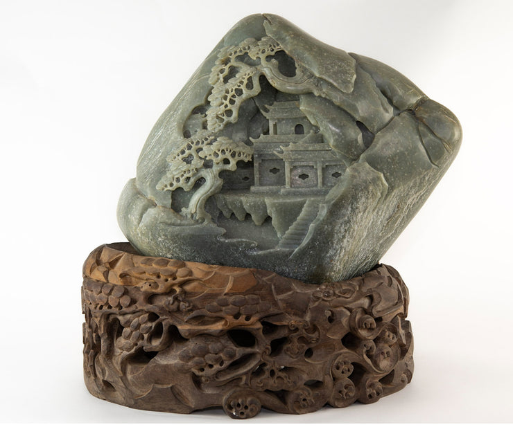 Large Chinese Jade Boulder Double Sided Carving