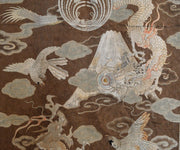 Large Antique Japanese Silk Embroidery Featuring Dragons in Clouds