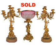 Dore bronze and crystal garniture set