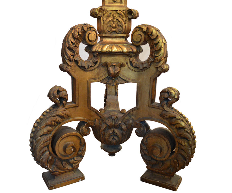 Tall Antique Hand-Carved Gilt Floor Candle Stand Torchiere