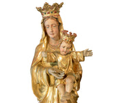 Antique Larger Than Life Giltwood Madonna and Child Church Statue