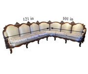 Custom Italian Louis XV Style Sectional with Two Chairs