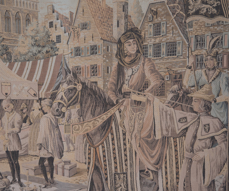 Large Tapestry Featuring a Medieval Market Scene in Wood Frame