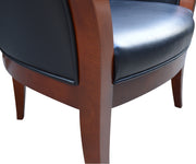 Mid century/Modern Style Rounded Back Leather and Wood Chairs