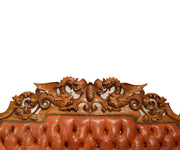 Antique Tufted Back Leather Hand-Carved Oak Bench or Sofa