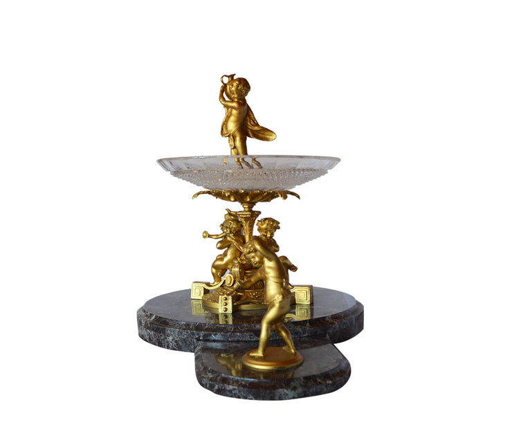 Magnificent Gilt Bronze, Cut-Glass and Marble Centerpiece