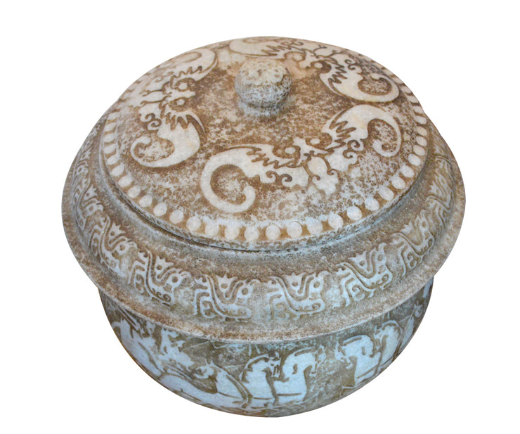 Antique Chinese Carved Marble Pot with Lid and Horse Decorations