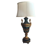Antique Gilt Bronze Ormolu on Green Marble Urn Converted to Lamp
