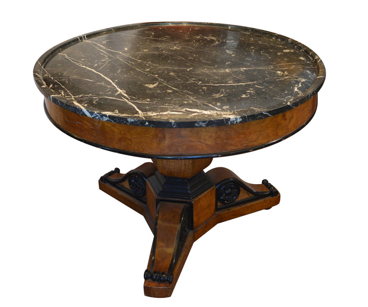 Charles X style table with black marble top