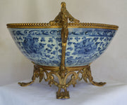 Large Antique Ormolu Mounted Chinese Ming Dynasty Porcelain Bowl