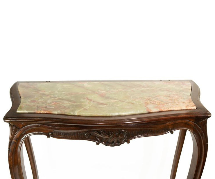 Antique 19th Century Louis XV Style Carved Walnut Onyx Top Console and Mirror